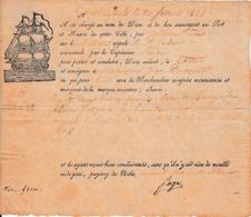 """1844 - BAGNOLS Pour CETTE - Connaissement Bateau """"Le St Jules"""" - Vin De BANYULS - Documents Historiques"""