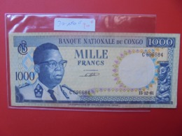 CONGO BELGE 1000 FRANCS 15-12-61 CIRCULER - [ 5] Congo Belga