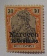 Deutsche Post Marokko 35 Centimes Reichspost Ungebraucht (25568) - Deutsche Post In Marokko