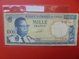 CONGO BELGE 1000 FRANCS 1-8-64 CIRCULER - [ 5] Belgisch Kongo