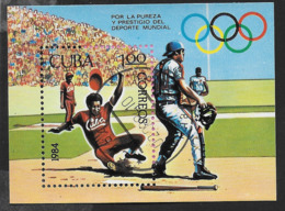 CUBA - 1984 - BASEBALL - FOGLIETTO USATO (YVERT BF 83 - MICHEL BL 84) - Baseball