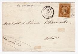 Savoie 1860 Chambéry Autun Saône-et-Loire Timbre Napoléon III Non Dentelé 10 Centimes Cachet Ambulant Mont Cenis à Mâcon - 1853-1860 Napoleon III