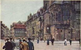 Illustrateur L Setelik Prague L'Hotel De Ville Avec La Vieille Horloge  RV - Peintures & Tableaux