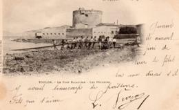 83 LA SEYNE LE FORT BALAGUIER ANIMEE LES PECHEURS TIRANT LE FILET CARTE PRECURSEUR 1900 - La Seyne-sur-Mer