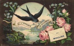 Fantaisie J'APPORTE UN SOUVENIR DE MOULINS Gitondelle Myosotis Roses RV - Moulins