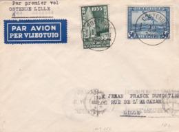Lettre Premier Vol Ostende Lille 1935 - Poste Aérienne