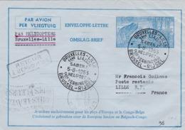 Aérograme Métallurgie Par Hélicoptère Bruxelles-Lille 1953 - Entiers Postaux