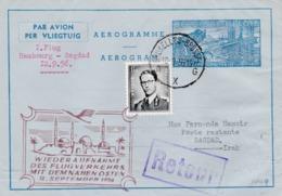 Aérograme Métallurgie Hambourg-Bagdad 12/9/1956 Retour - Entiers Postaux