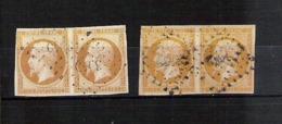 Lot De 22 Timbres Oblitérés Napoléon III  (dont 2 Paires) - N°  12a à 17Bb ( ?? ) - 1853-1860 Napoléon III