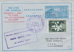 Aérograme Métallurgie  Bruxelles-Lima Via Paris 13/3/1958 - Entiers Postaux