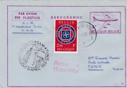 Aérograme  K.L.M Amsterdam-Tunis Et Retour 1959 - Entiers Postaux