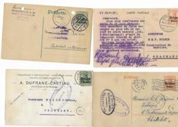 België Bezetting  4 Kaarten Censuur - Otros Cartas