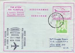 Aérograme  Par Avion BOEING Bruxelles-New YORK 1960 - Entiers Postaux