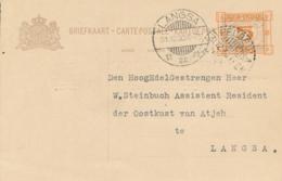 Nederlands Indië - 1930 - 5 Op 7,5 Cent Cijfer, Briefkaart G44 Van LB PEUREULA  Naar LB LANGSA - Nederlands-Indië