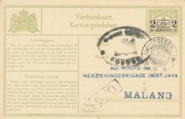 Nederlands Indië - 1931 - 2 Op 1 Cent Cijfer, Verhuiskaart G7b Van LB POEGER Naar Malang - Nederlands-Indië