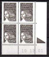 Col12   France Coin Daté N° 3444 3422 Luquet  10 12 01 Bopst Neuf XX MNH Luxe - 2000-2009
