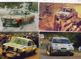 Lot Of 4 Different RALLY CAR Postcards  -   Ford Escort-Ford Sierra Cosworth  -  4 X Carte Postale Modern - Rally