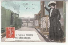 14 - Honfleur - Gare - Chemin-de-fer - à L'arrivée Je Vous Envoie Le Bonjour - Honfleur