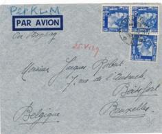Nederlands Indië - 1939 - 3x 15 Cent Wilhelmina Op LP-cover Van LB POELAURADJA Naar Brussel / België - Nederlands-Indië