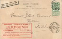 Belgique -Advertising- Publicité- Brasserie- Brouwerij DE HALF MAAN Stijfselstraat Antwers-Griffe Encadrée SOLRE-St GE - Antwerpen