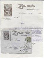 1918 - ENVELOPPE + LETTRE PUB DECOREE (PRODUIT COLONIAL ZAFE) De MAGNET (ALLIER) - Marcophilie (Lettres)