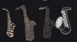 59926-lot De 4  Pin's.-saxophone.jazz... - Musique