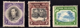 COOK ISLANDS ISOLE 1938 KING GEORGE VI VILLAGE PALMS CANOE COASTAL SCENE COMPLETE SET SERIE COMPLETA MNH - Cook