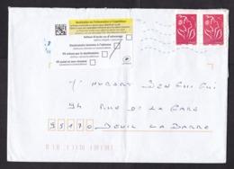 France: Cover, 2010s, 2 Stamps, Returned, Retour Label, Addressee Unknown (minor Damage, See Scan) - France