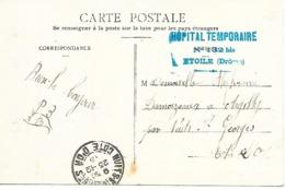 26-cachet Hôpital Temp N)132 Bis De Etoile Sur CP - Cachet Très Beau Et Très Rare - Marcophilie (Lettres)