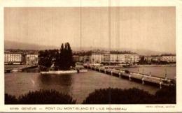 SUISSE  GENEVE  PONT DU MONT-BLANC ET L'ILE ROUSSEAU - GE Ginevra