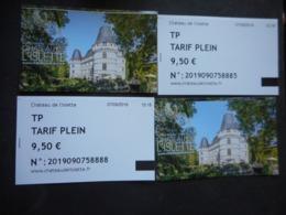 4 Billets Entrée CHATEAU De L'ISLETTE - Azay-le-Rideau - Tickets D'entrée