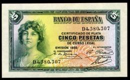 SPAIN 5 PESETAS 1935 Pick 85 Unc - [ 3] 1936-1975: Franco