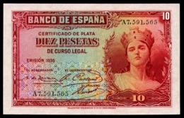 SPAIN 10 PESETAS 1935 Pick 86 Unc - 10 Pesetas