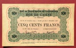 Luxembourg Billet De Banque 500 Francs 1914-1918 - Lussemburgo