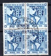 Sellos Nº 1091 En Bloque De 4  Con Matasellos Exposicion Filatelica Melilla - 1951-60 Usados