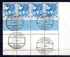 Sello  Nº 1091 En Tira De 4 Sellos  Con Matasellos Especial Ecuaristico Barcelona. - 1951-60 Usados