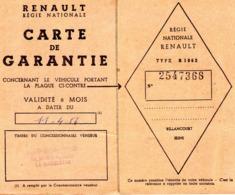 D - CARTE DE GARANTIE - REGIE NLE DES USINES RENAULT 140 AV DE LA REPUBLIQUE  LA MADELEINE (LILLE)  1956 - Unclassified