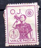 Viñeta  1 Pta  O.J.  Valencia - Verschlussmarken Bürgerkrieg