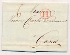 Nederland / België - 1780 - Complete EO Vouwbrief Van Amsterdam Met H In Cirkel Naar Gand / Vlaanderen - Niederlande