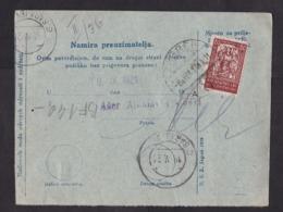 Yugoslavia: Stationery Parcel Card, 1921, 4 Extra Stamps, Label Zagreb, SHS, Various Issues, See Back (damaged: Fold) - 1919-1929 Königreich Der Serben, Kroaten & Slowenen