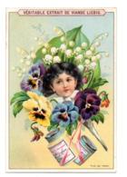 Chromo Liebig S 444 Jeune Fille Tête Cheveux Noir Portrait Enfant Bouquet Fleur Bouton Muguet Pensée Feuille Lot Boîte - Liebig