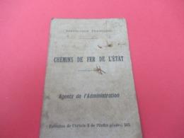Carte D'Identité/République Française/Chemins De Fer De L'Etat/Agents De L'Administration/MALHIER/Saintes/1920   AEC165 - Autres