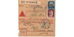 Allemagne  - Colis Postal  - Départ Metz Opernplatz -   Pour Pfarebersweiler   ( Farébersviller ) - Allemagne