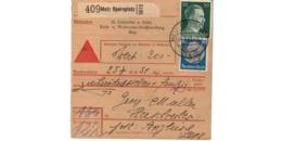Allemagne  - Colis Postal  - Départ Metz Opernplatz -   Pour Herschweiler ( Henriville )   -   4-3-43 - Allemagne