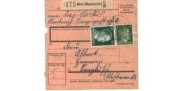 Allemagne  - Colis Postal  - Départ Metz Montenich -     10-3-43 - Allemagne