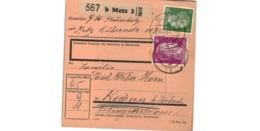 Allemagne  - Colis Postal  - Départ Metz   - Pour Kochern  ( Cocheren ) Par Forbach   -     30-11-43 - Duitsland