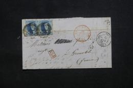 BELGIQUE - Lettre De Audenaerde Pour La France En 1856, Affranchissement En Paire ( Pli Sur La Paire) - L 42311 - 1851-1857 Medaglioni (6/8)