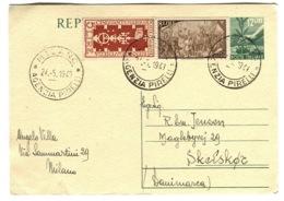 1948 Intero Postale 12 Lire Con Francobolli 8 Lire + 5 Lire Andato In Danimarca - Entiers Postaux