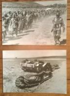 Lot De 2 Cartes Postales Photo /  Du TCHAD à TUNIS Char Allemand Kasserine & Prisonniers Bizerte - War 1939-45