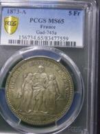 5 FRANCS 1873 A FRANCE PCGS MS65 ENVOI GRATUIT - J. 5 Francs